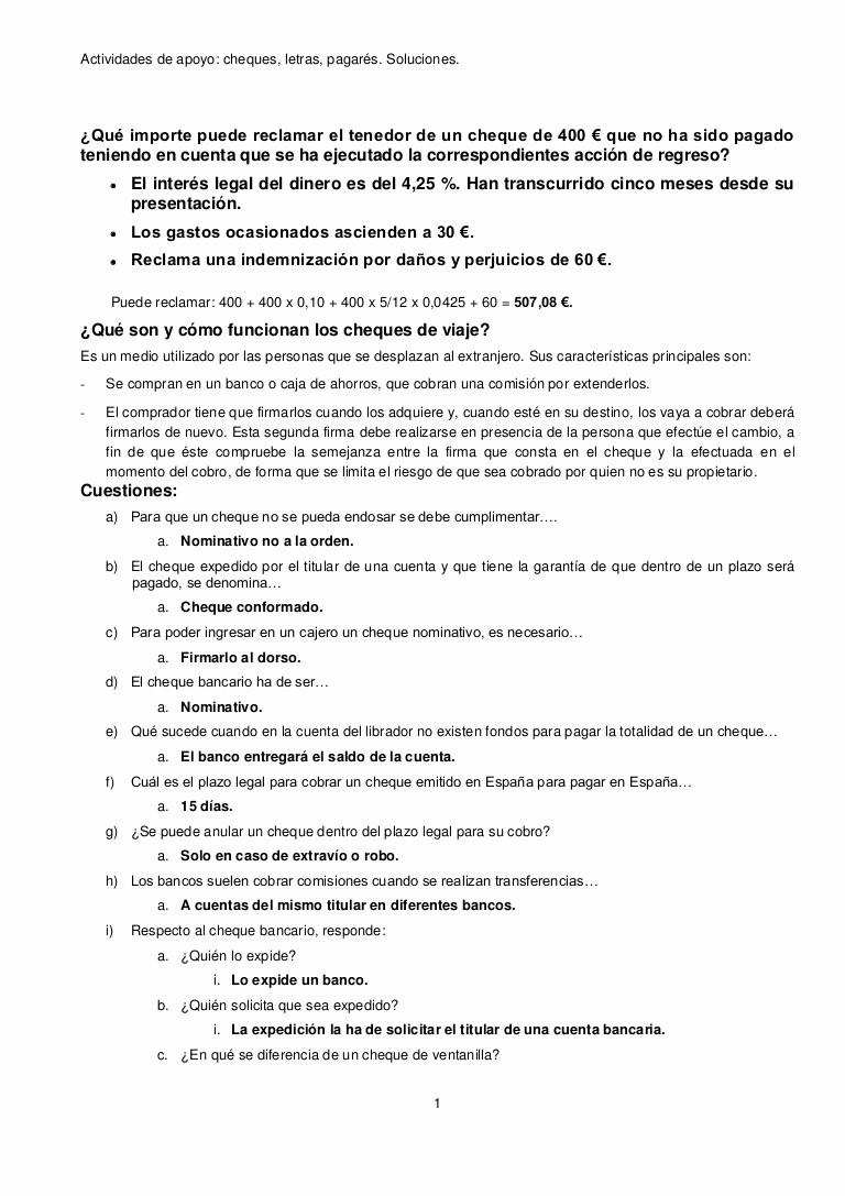 Carta Para Cobrar Una Deuda New Actividades Cheques Letras Otros soluciones
