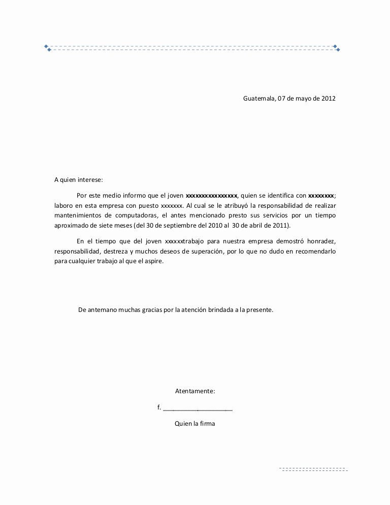 carta de re endacion laboral