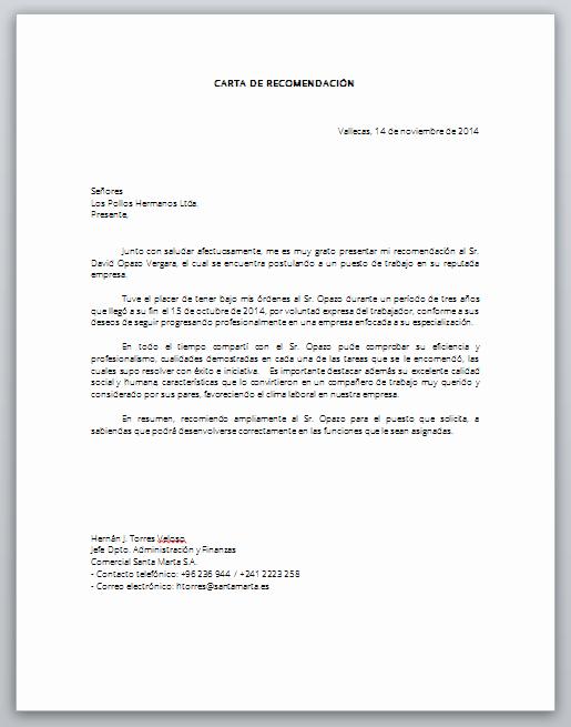 Cartas De Recomendacion Personal Ejemplos Elegant Word formato Carta Laboral Laboral