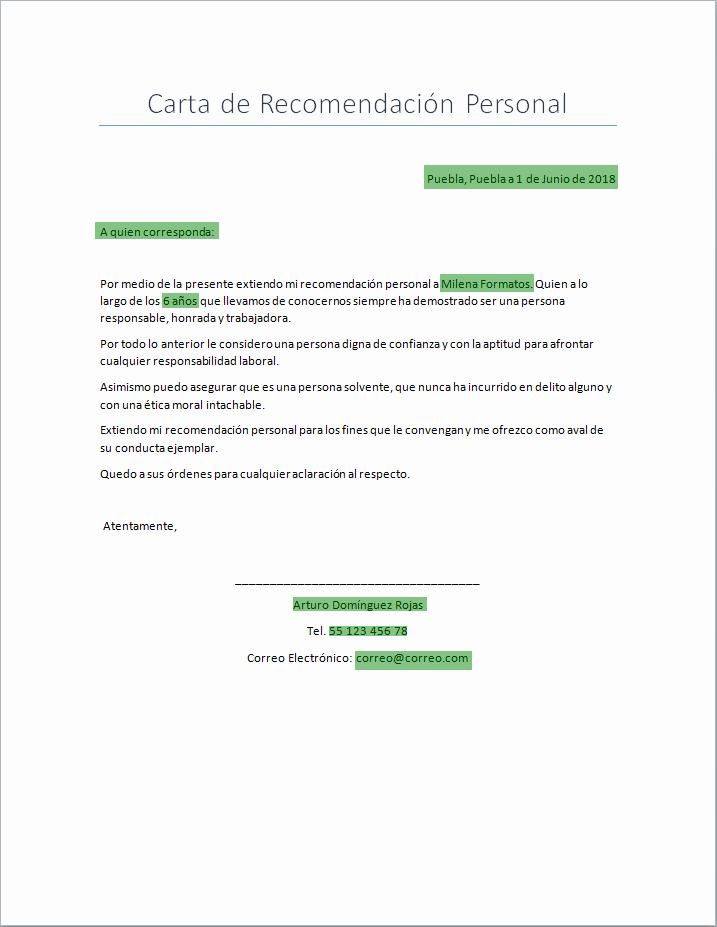 Cartas De Recomendacion Personal Ejemplos Fresh Carta De Re Endación Personal