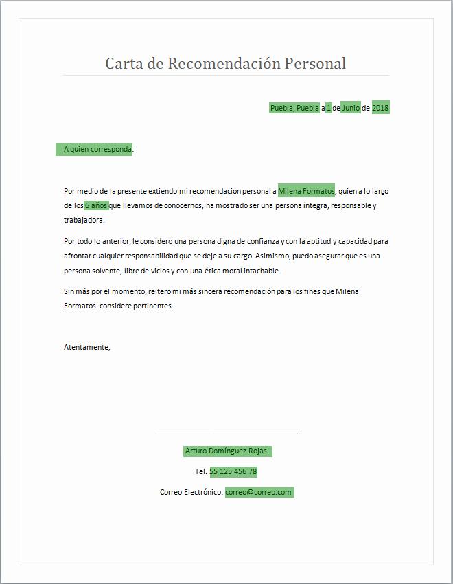 Cartas De Recomendacion Personal Ejemplos Lovely Carta De Re Endación Personal