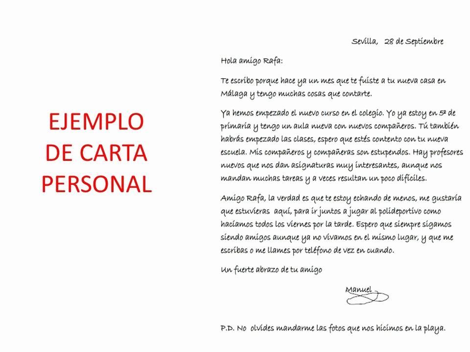 Cartas De Recomendacion Personales Ejemplos Unique O Escribir Una Carta Personal 5º De Ed Primaria Ppt