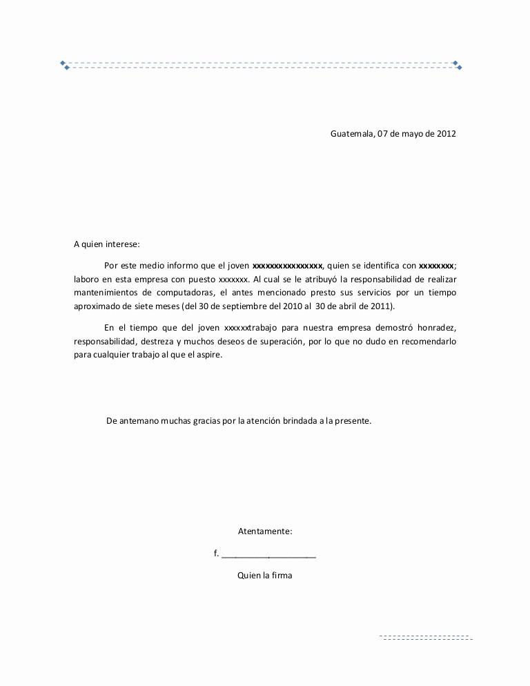 Cartas De Referencia De Trabajo Elegant Carta De Re Endacion Laboral