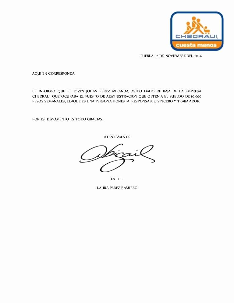 Cartas De Referencia De Trabajo Elegant Carta De Re Endacion
