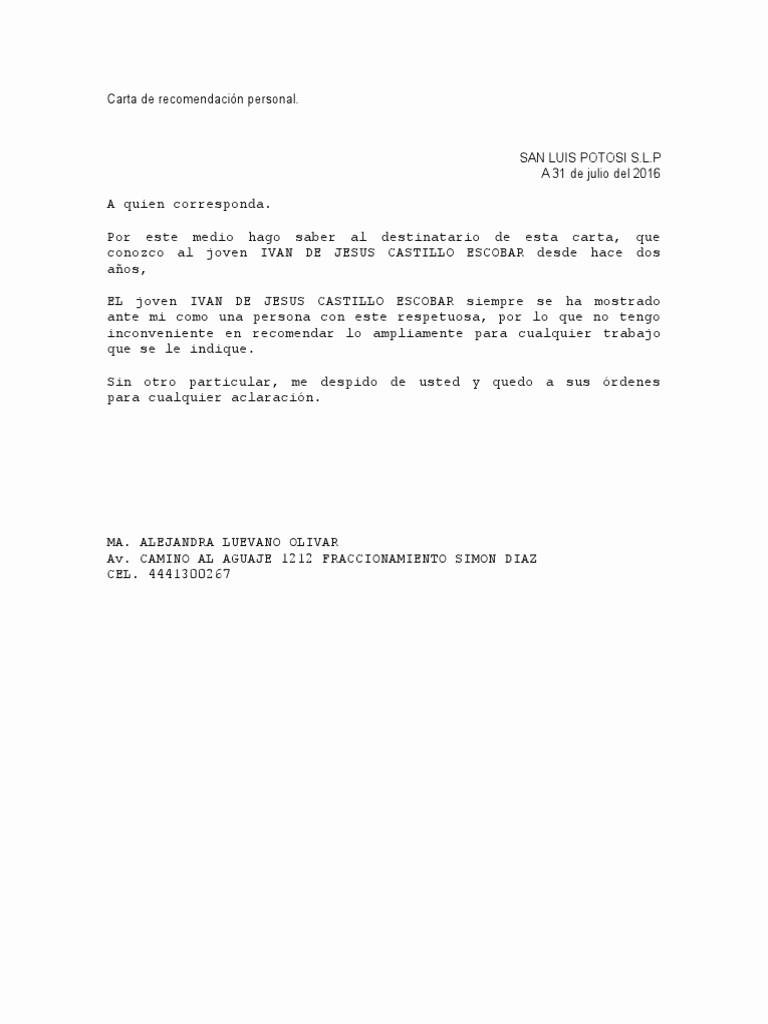 Cartas De Referencia De Trabajo Fresh Carta De Re Endacion Personal