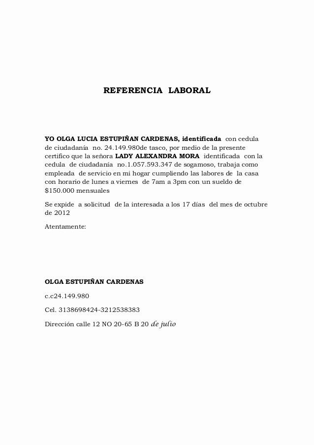 Cartas De Referencia De Trabajo Fresh Referencia Laboral