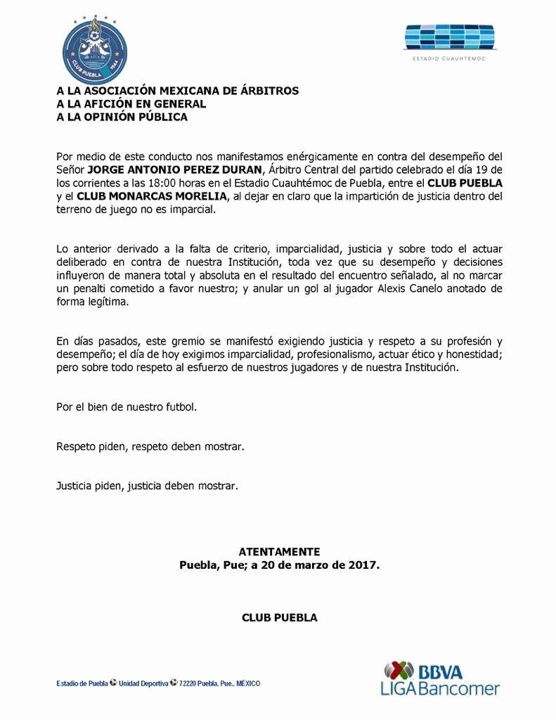 Cartas De Referencia De Trabajo Inspirational El Equipo Puebla Enva Carta A La Ama Con Queja Por