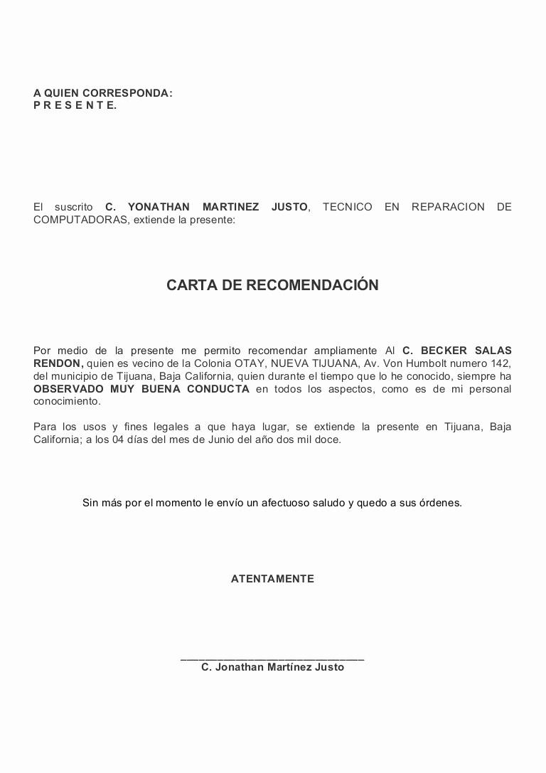 Cartas De Referencia Personal Ejemplos Luxury Carta De Re Endacion