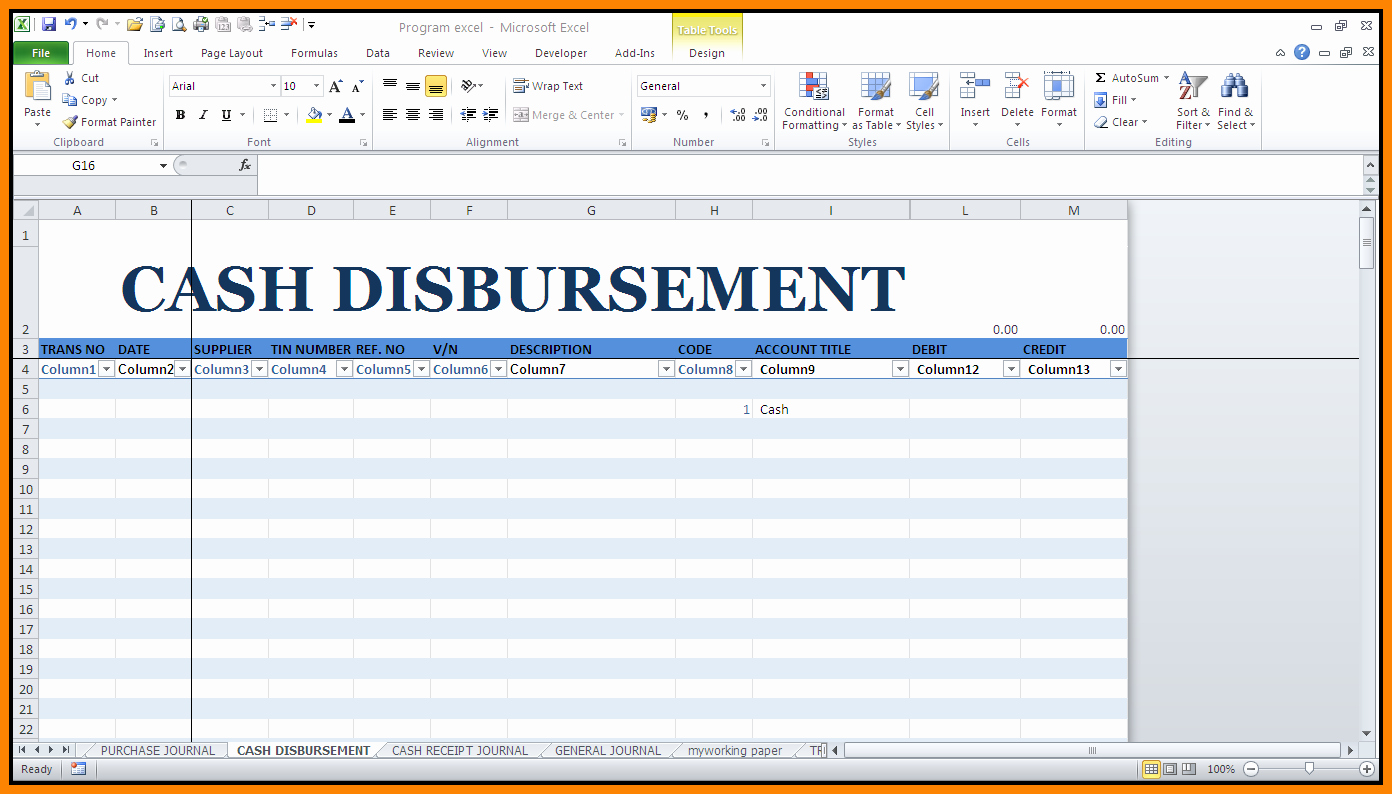 Cash Disbursement Journal Template Excel Awesome 5 Cash Disbursement Journal