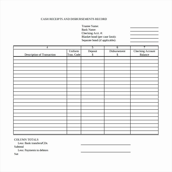 Cash Disbursement Journal Template Excel Elegant Receipts and Disbursements Template Cash Receipt Journal