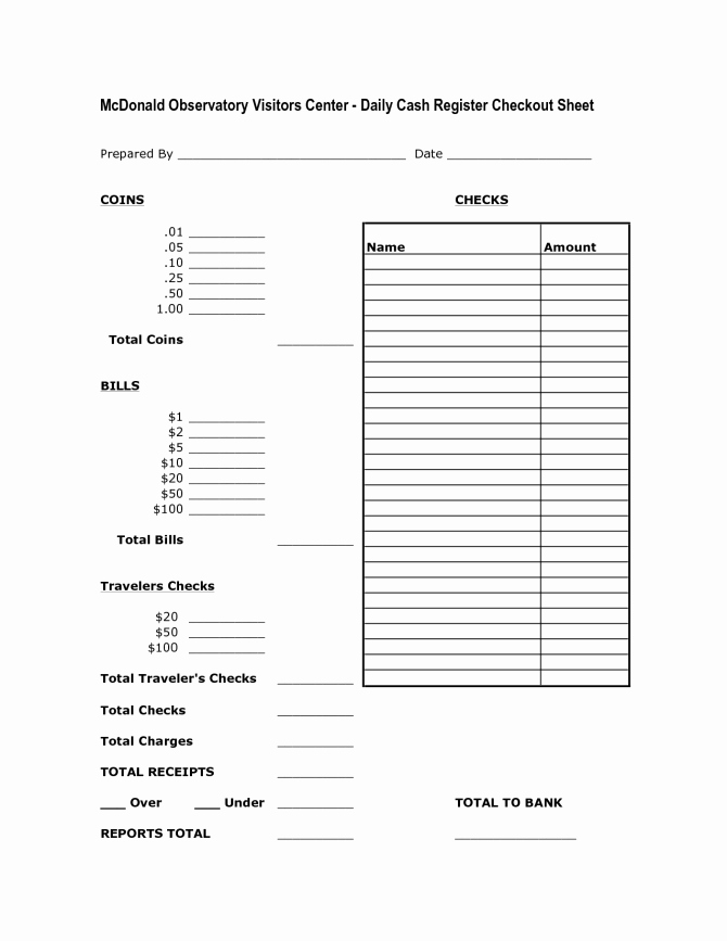 Cash Drawer Balance Sheet Template Awesome Cash Drawer Tally Sheet Template
