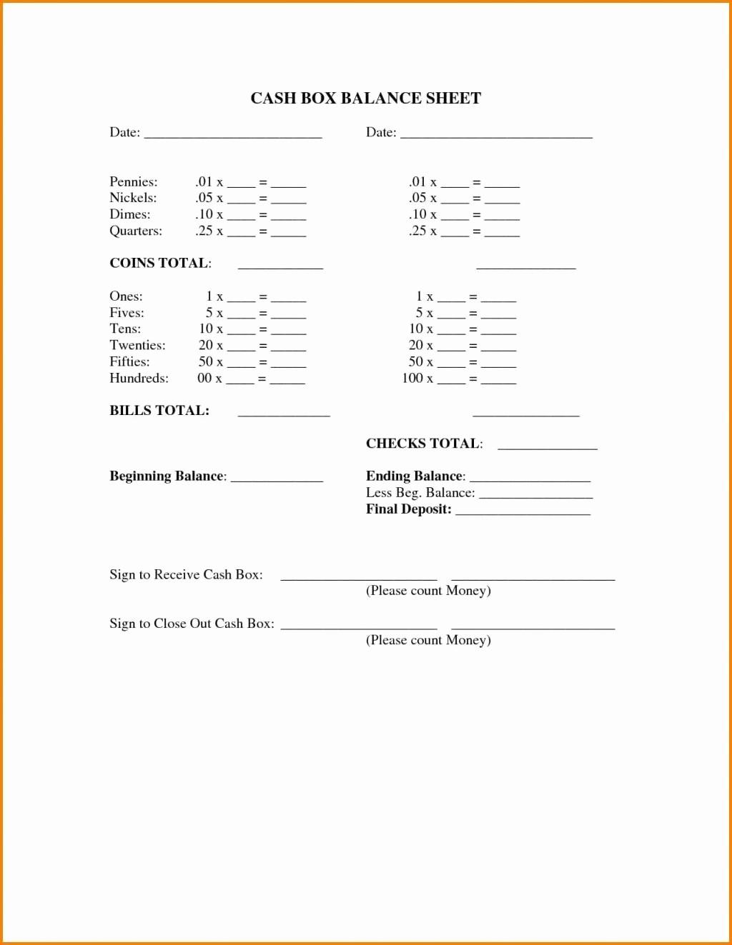 Cash Drawer Balance Sheet Template Luxury Sheet Cash Drawer Tally Template Till Google Search
