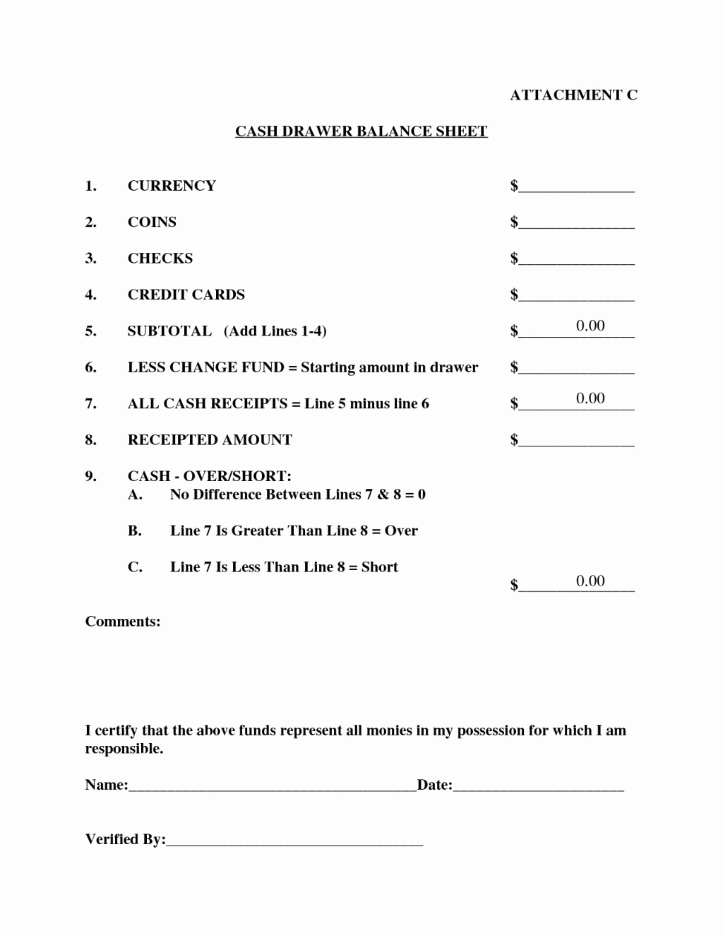 Cash Drawer Balance Sheet Template New Sheet Cash Drawer Tally Template Till Google Search