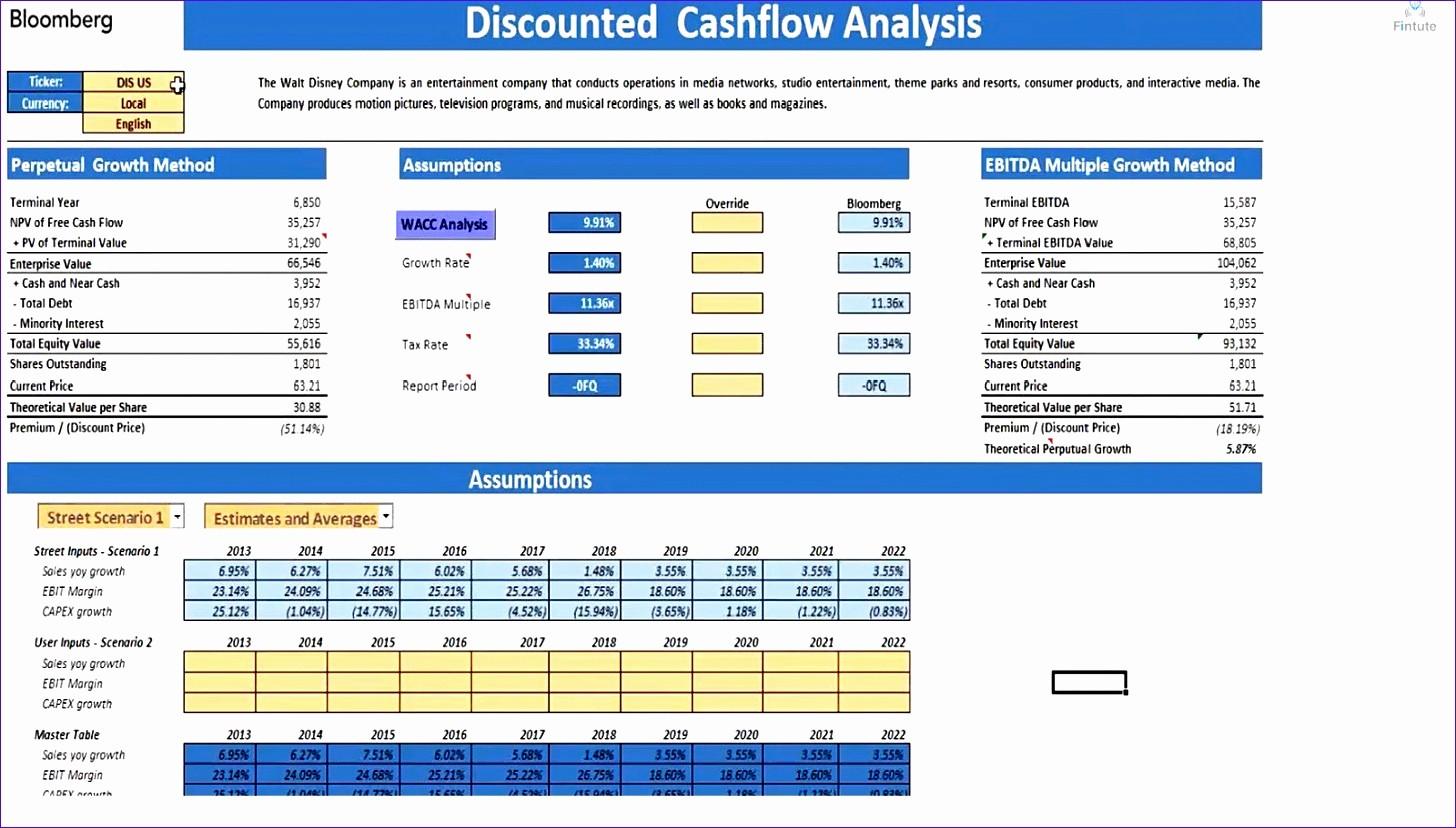 Cash Flow Analysis Example Excel Elegant 12 Discounted Cash Flow Template Excel Exceltemplates