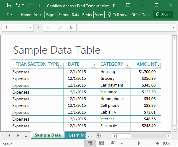Cash Flow Analysis Example Excel Fresh Cashflow Analysis Excel Template