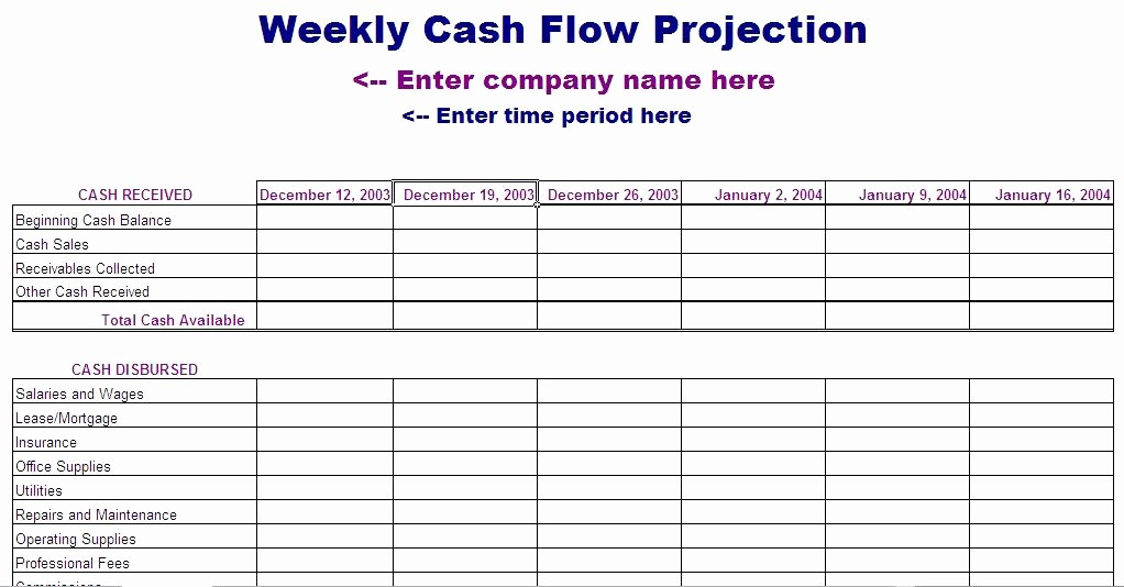 Cash Flow Analysis Example Excel Luxury 13 Week Cash Flow Statement