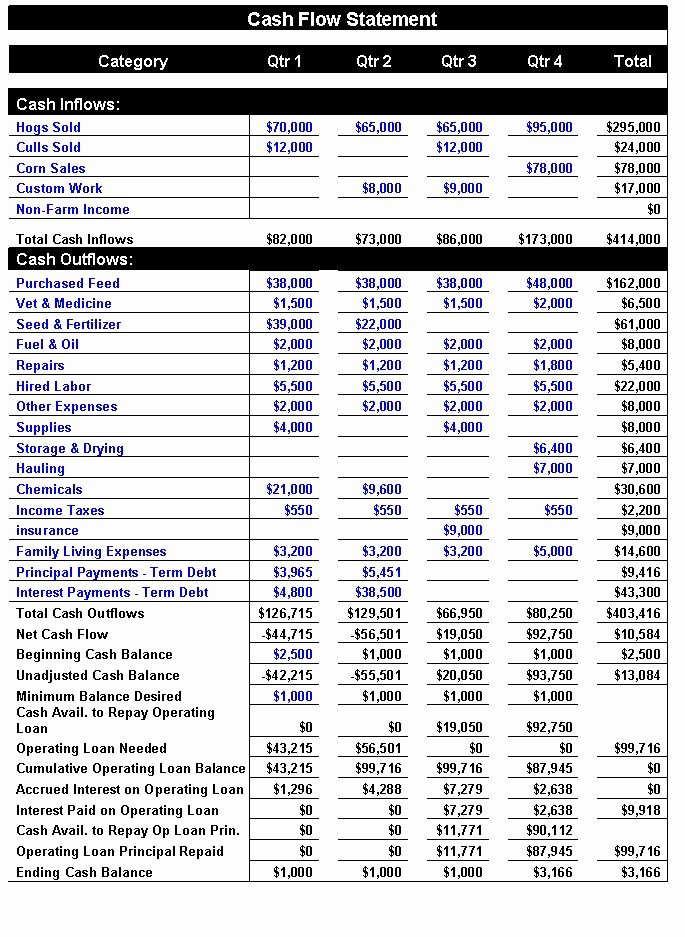 Cash Flow Analysis Example Excel Luxury Financial Analysis Of An Agricultural Business – the Cash