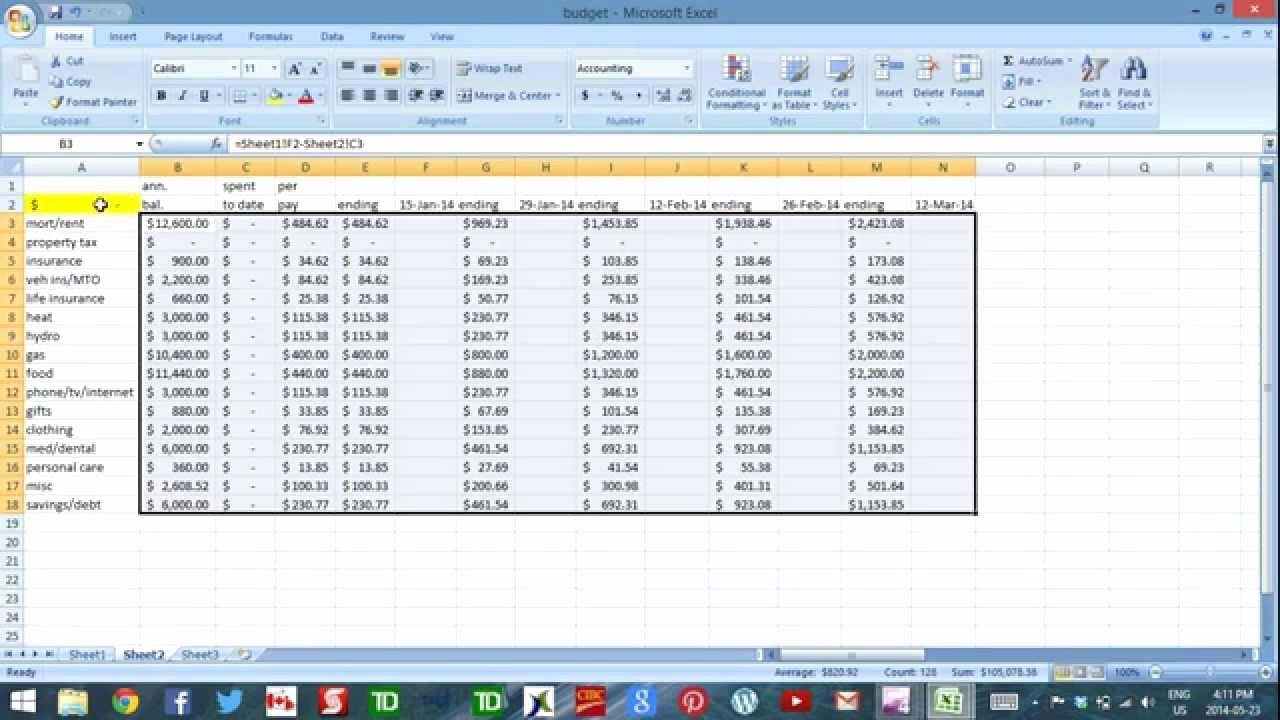 Cash Flow Budget Template Excel Elegant Using Excel to Bud Part 4 Cash Flow Template