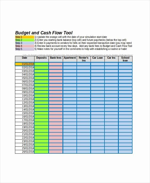 Cash Flow Budget Template Excel Unique Cash Flow Excel Template 11 Free Excels Download