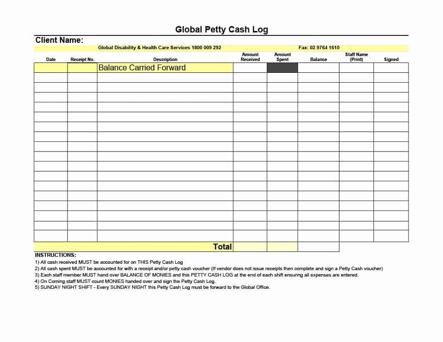 Cash In Cash Out Template Elegant 40 Petty Cash Log Templates & forms [excel Pdf Word]