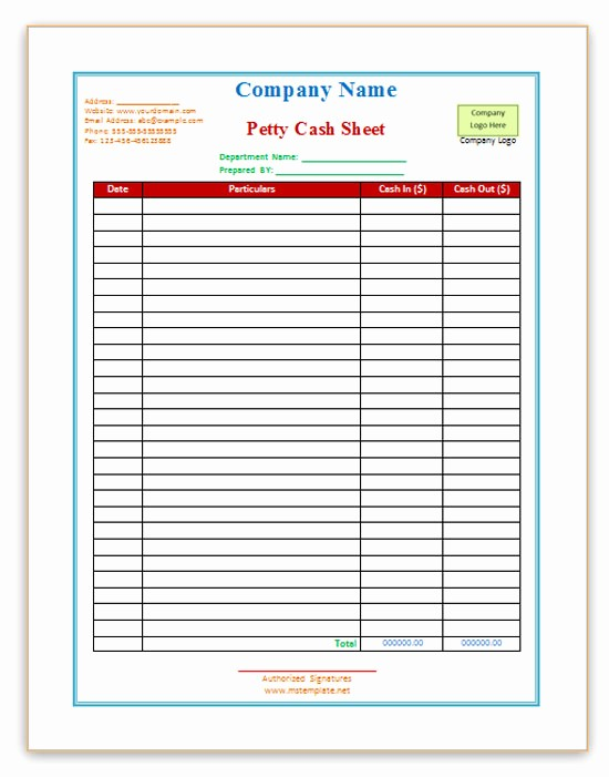 Cash In Cash Out Template Fresh Free Word Templates Petty Cash Templates