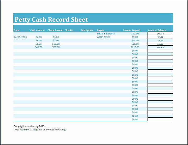 Cash In Cash Out Template Inspirational 8 Petty Cash Log Templates Excel Templates
