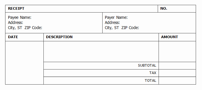 Cash Receipt format In Excel New Cash Receipt Template