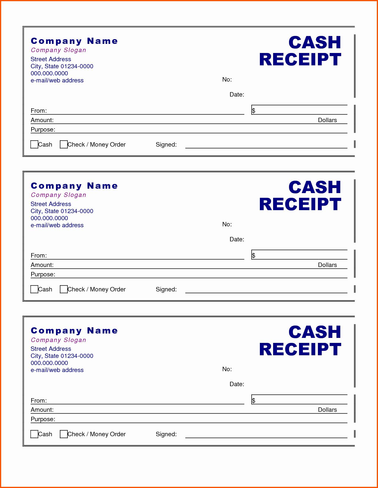 Cash Receipt format In Excel Unique Cash Receipt form Examples Vatansun