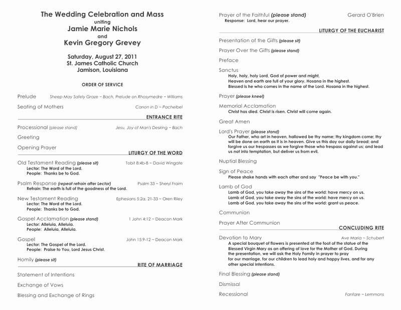 Catholic Wedding Program Template Free Awesome Free Wedding Program Templates – No Cover – Wedding