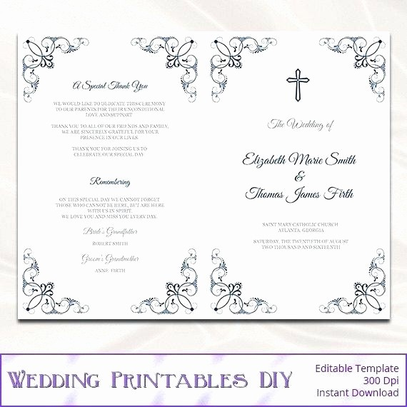 Catholic Wedding Program Template Free Awesome Watercolour Garden Ceremony Booklet Printable Cover