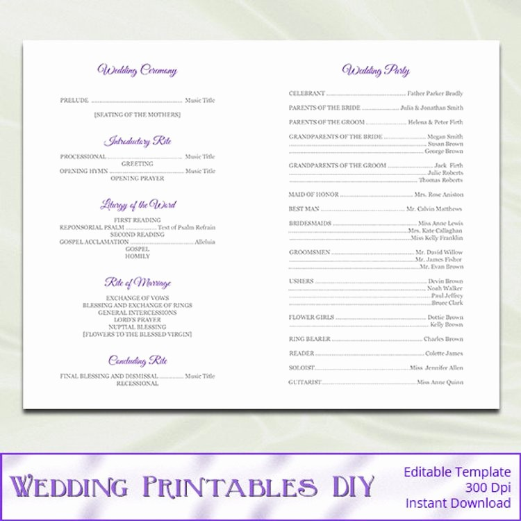 Catholic Wedding Program Template Free Beautiful Catholic Wedding Program Template Diy by Weddingprintablesdiy