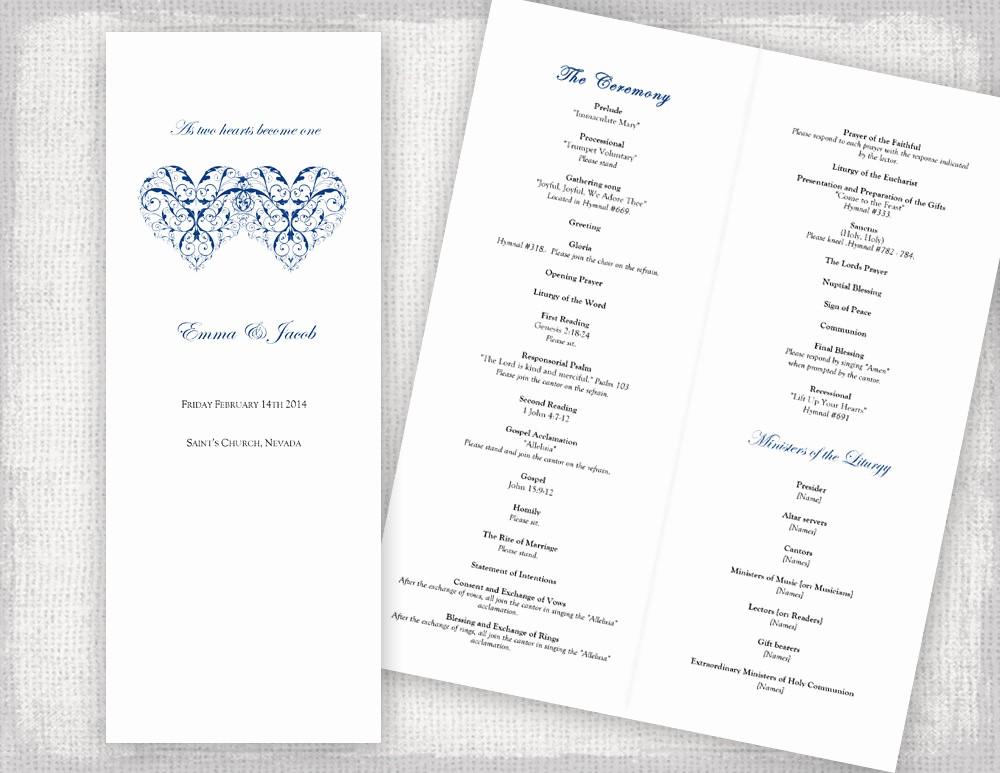 Catholic Wedding Program Template Free Beautiful Catholic Wedding Program Template Printable Ceremony Program