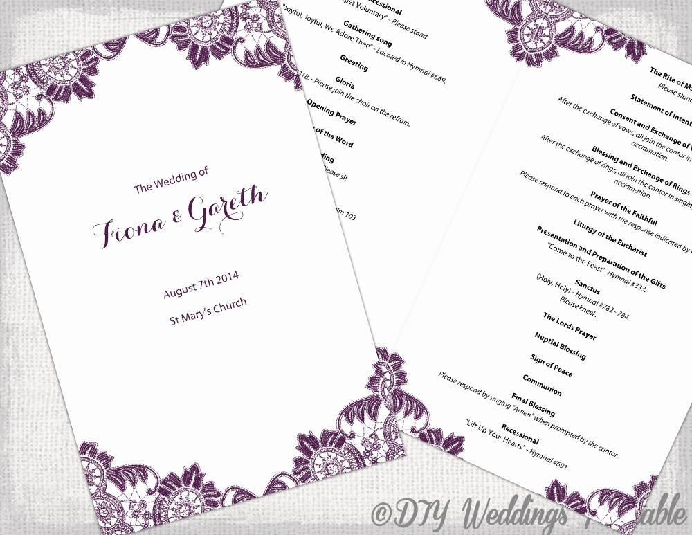 Catholic Wedding Program Template Free Beautiful Plum Catholic Wedding Program Template Antique
