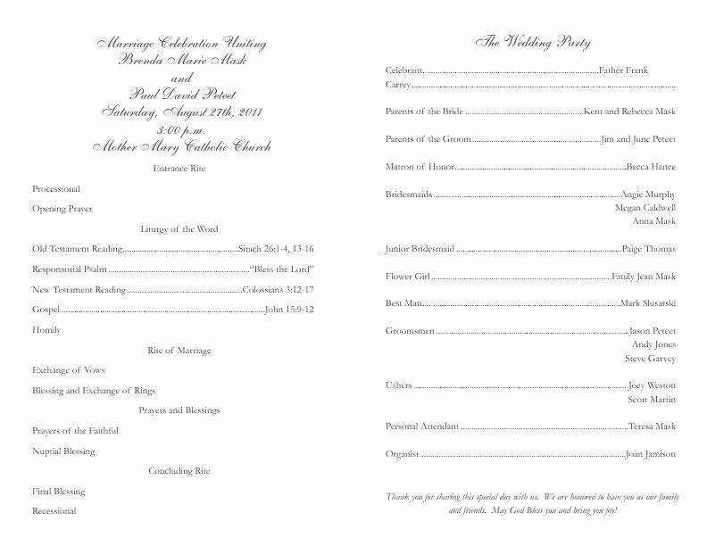 Catholic Wedding Program Template Free Fresh Catholic Wedding Program Template 2