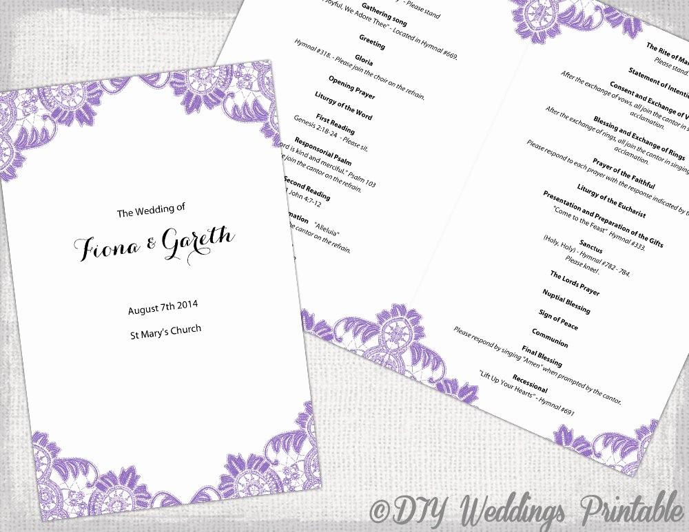Catholic Wedding Program Template Free Fresh Catholic Wedding Program Template Wisteria Lavender