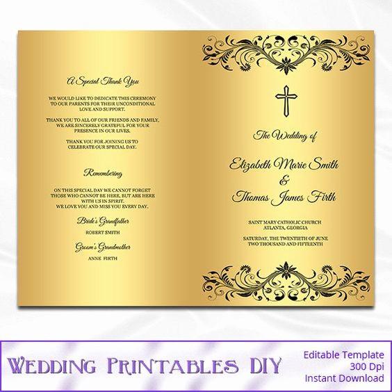 Catholic Wedding Program Template Free Inspirational Catholic Wedding Program Template Diy Black and Gold Foil