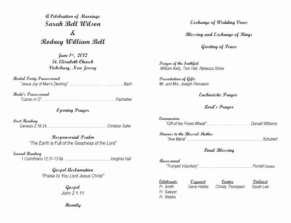 Catholic Wedding Program Template Free Inspirational Image From Template