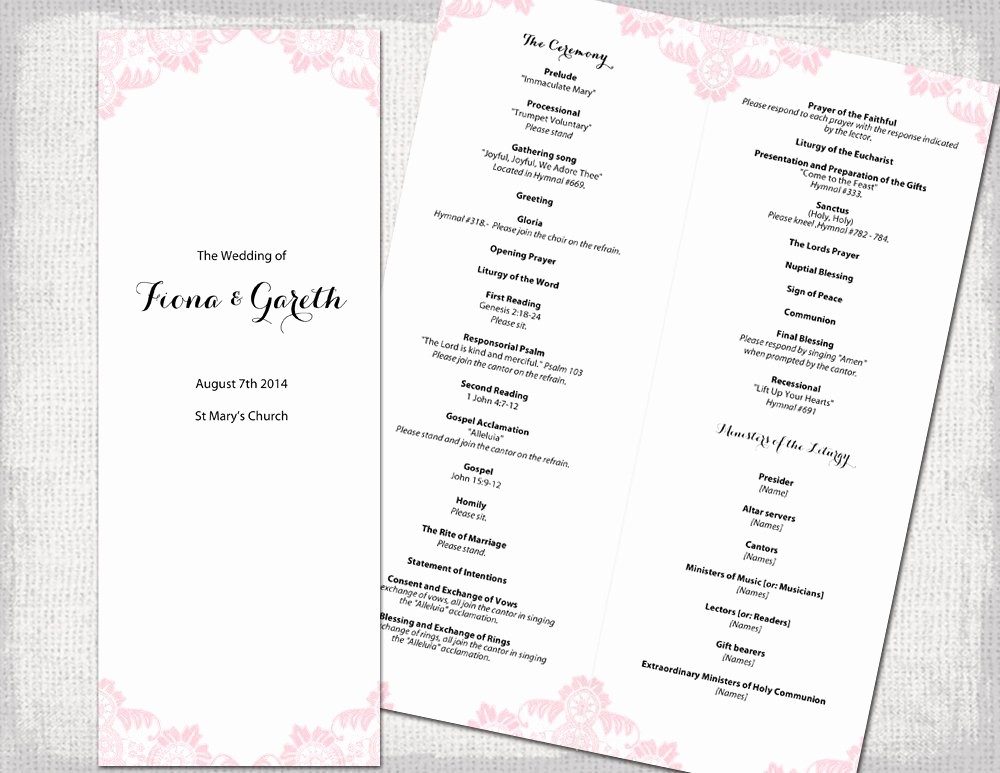 Catholic Wedding Program Template Free Lovely Catholic Wedding Program Template Powder Pink Antique