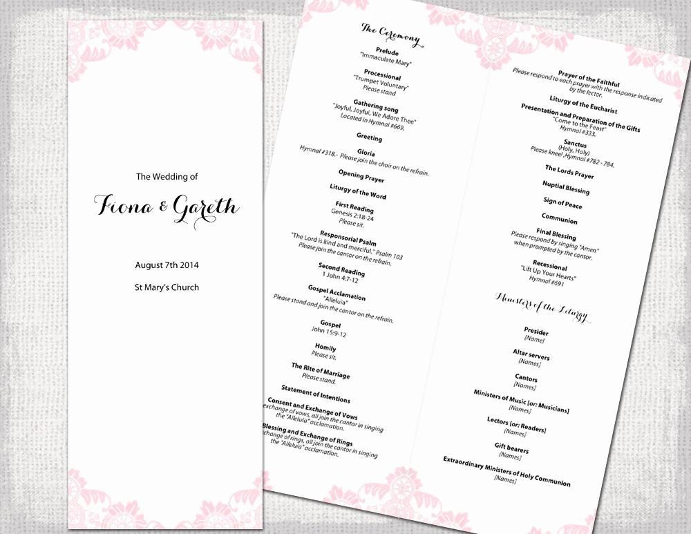 Catholic Wedding Program Template Free Lovely Catholic Wedding Program Template Powder Pink Antique