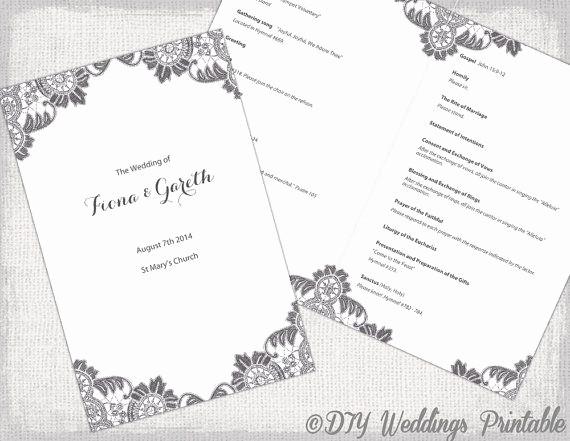 Catholic Wedding Program Template Free Lovely Diy Catholic Wedding Program Template Charcoal Gray