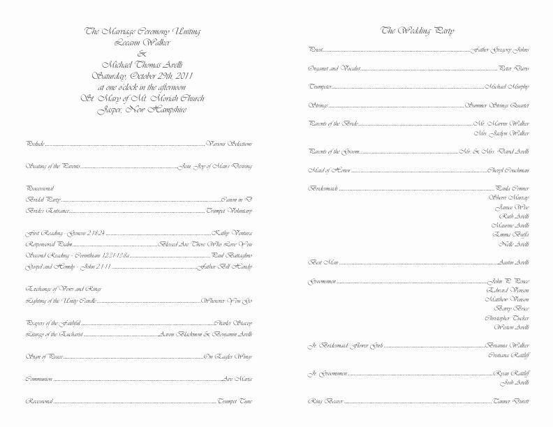 Catholic Wedding Program Templates Free Awesome Catholic Wedding Program Template 4