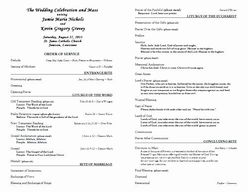 Catholic Wedding Program Templates Free Awesome Free Catholic Wedding Program Template 6 Ceremony without