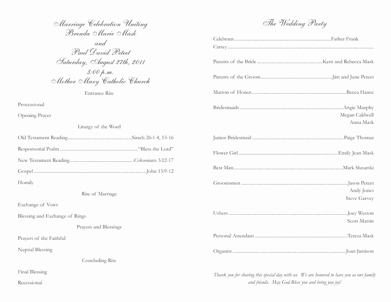 Catholic Wedding Program Templates Free Beautiful Catholic Wedding Program Template 2
