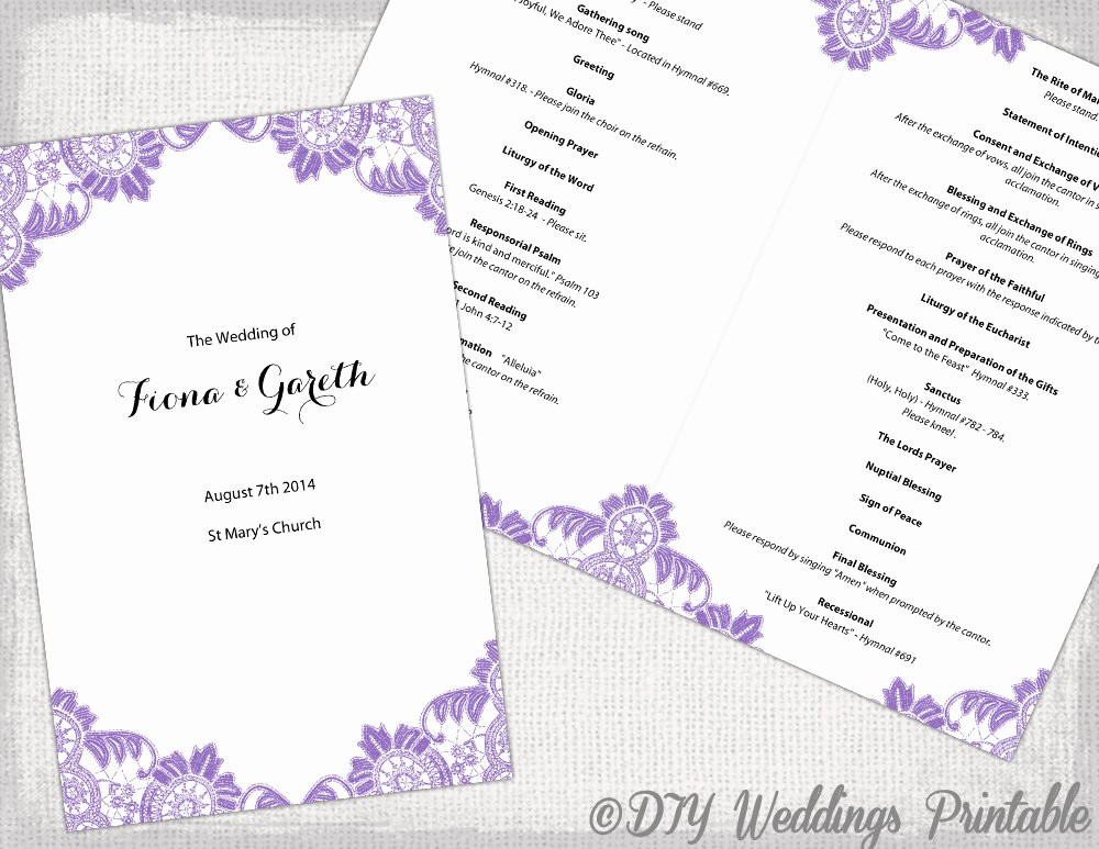 Catholic Wedding Program Templates Free Beautiful Catholic Wedding Program Template Wisteria Lavender