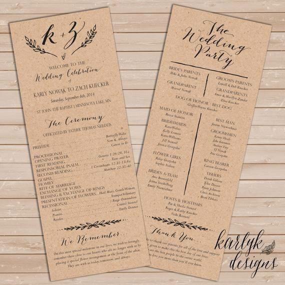 Catholic Wedding Program Templates Free Beautiful Rustic Wedding Program Printable Wedding Program Wedding