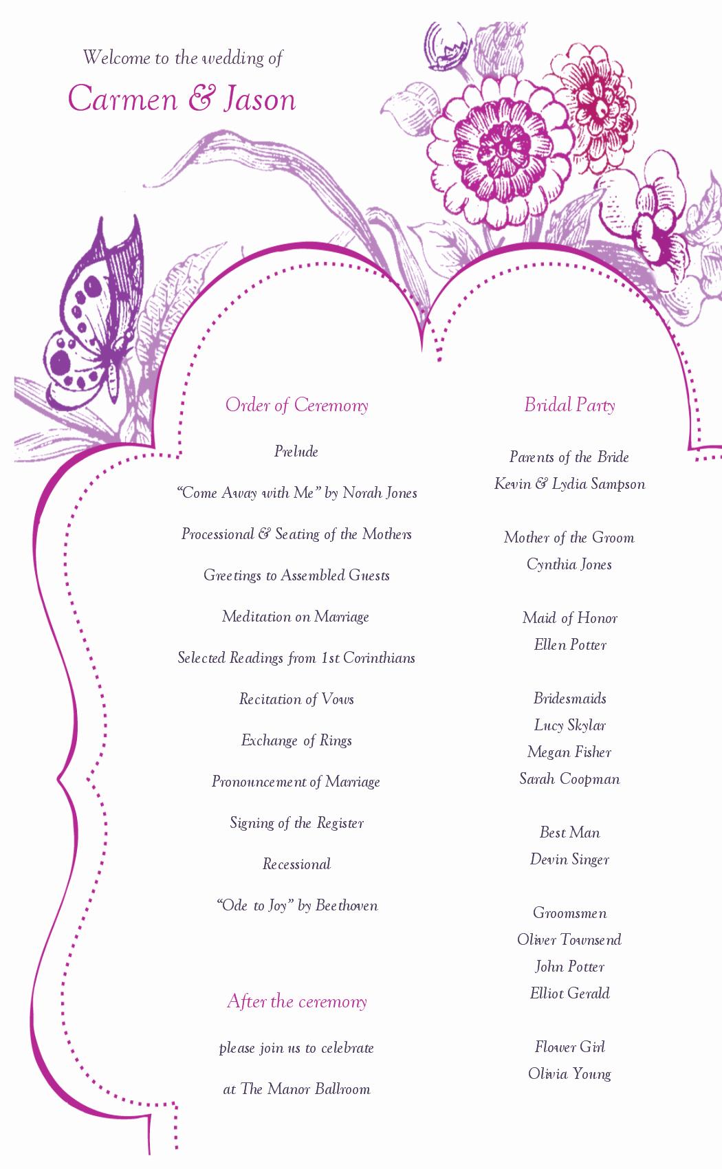 Catholic Wedding Program Templates Free Best Of 8 Best Of Printable Wedding Program Templates