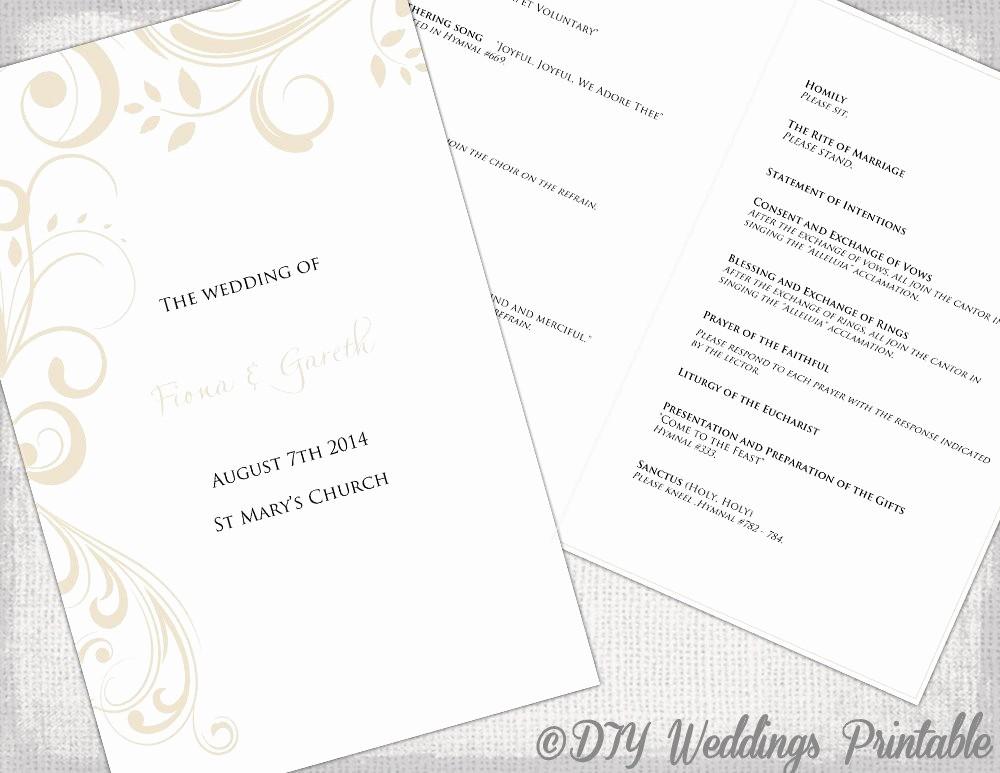 Catholic Wedding Program Templates Free Fresh Catholic Wedding Program Template by Diyweddingsprintable
