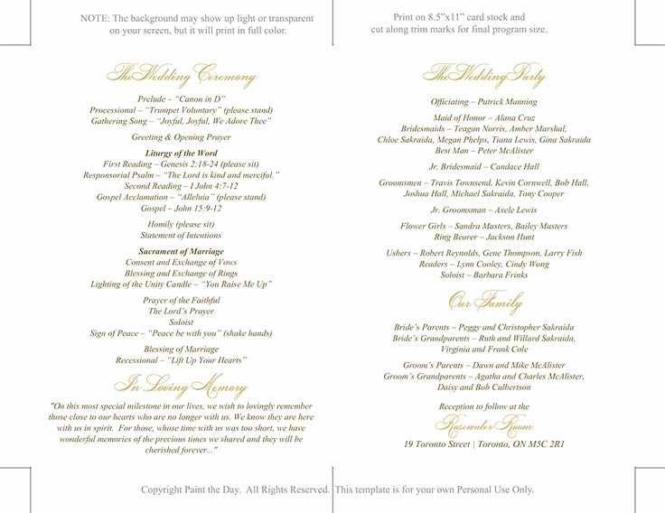 Catholic Wedding Program Templates Free Inspirational Catholic Wedding Program Template Printable by