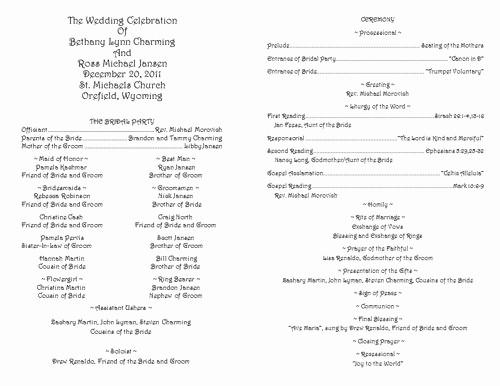 Catholic Wedding Program Templates Free Lovely Creative Wedding Programs
