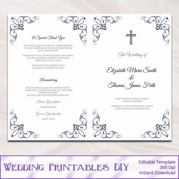 Catholic Wedding Program Templates Free Luxury Catholic Wedding Program Template Diy Navy Blue order Of